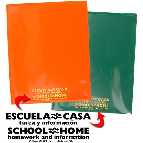 StoreSMART School / Home Folders - Spanish / English - 30-Pack - 6 Colors! - Letter-Size Twin Pocket - Durable, Archival Plastic - SH900PCP30SPAN