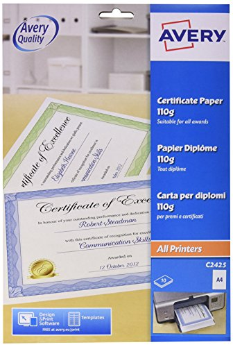 Avery UK C2425 A4 Certificate Paper, Blue Certificate Border, 10 A4 Sheets per Pack ()