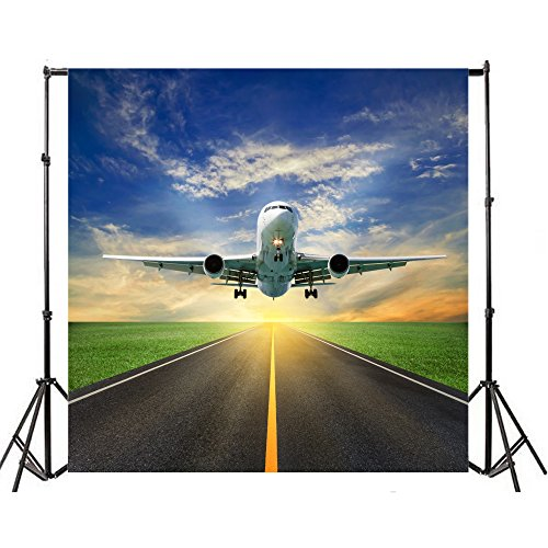 Yeele 5x5ft Aerodrome Aeroplane Flight Photography Background Vinyl Aviation Runway Plane Take-Off Blue Sky White Cloud Fly Travel Photo Backdrops Holiday Traveling Photo Shoot Studio Props