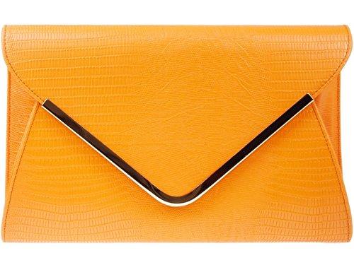 fi9 Bridal Envelop Print Purse Evening Shoulder Hand Croc Orange Bag Clutch Handbag Wedding Party At6rEtqx