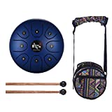 Muslady 5.5 Inch 8-Tone Steel Tongue Drum C Key Percussion Instrument Hand Pan Drum with Drum Mallets Carry Bag