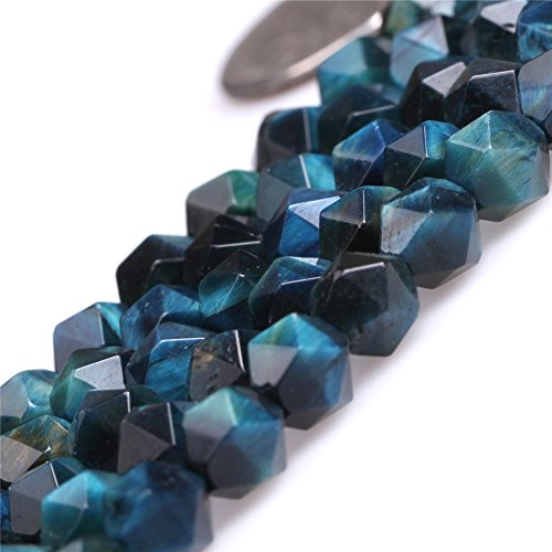 - Tiger Eye Beads for Jewelry Making Gemstone Semi Precious 6mm Faceted Blue 15