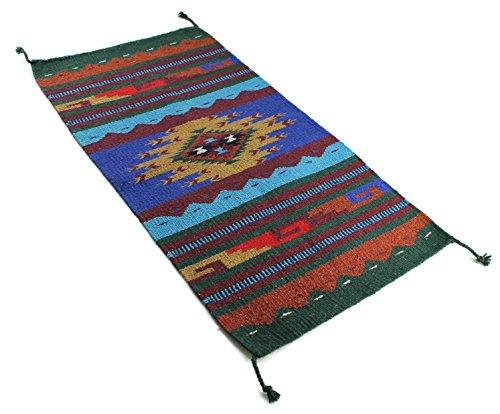 Onyx Arrow Southwest Décor Area Rug, 20 x 40 Inches, Pueblo Pattern, Tan/Blue