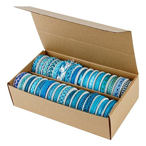 LaRibbons Decorating Trim Sewing Craft Ribbon Bulk - 1/2''X 2 Yard Each Roll - 32 Assorted Designs (Bright Blue) ()