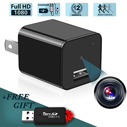 Spy Hidden Camera,1080P Spy Camera Wall Charger Mini Camera, Portable Nanny | Kids | Baby | Pet |Home Security Cam,Black
