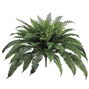 One 32 Inch Long Silk Artificial Boston Fern Bush 50 Inch Spread Plant 90 Branches 106