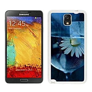 White TPU Phone Case for Samsung Note 3 Daisy, Flower, Glass, Water Durable Silicone Cover