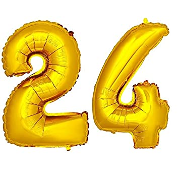 DekoRex® número Globo decoración cumpleaños Brillante para Aire en Oro 40cm de Alto No. 24