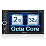 Octa Core Android Double Din Car Stereo Radio 32GB+2GB DVD CD Player with Bluetooth GPS Navigation 6.2 inch Touch Screen - Support Wifi, MirrorLink, AUX Input, USB SD, Backup Camera, Dash Cam