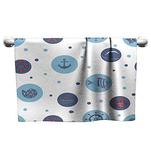 Tankcsard Wallpaper with Doodle Fish Shell Crab Anchor,Chamois Towel for car