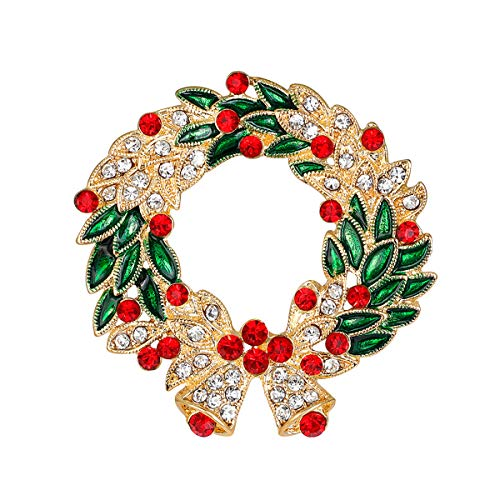 Merdia Created Crystal Brooches for Women Wreath Flower Brooch Pins Christams Gift (Christmas Wreath Pin)