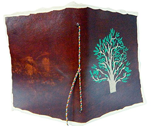 M&N Handmade Screen Printed, Tree of Life Motif, Deckle-Edge Leather Journal, Travel Journal, Brown Color