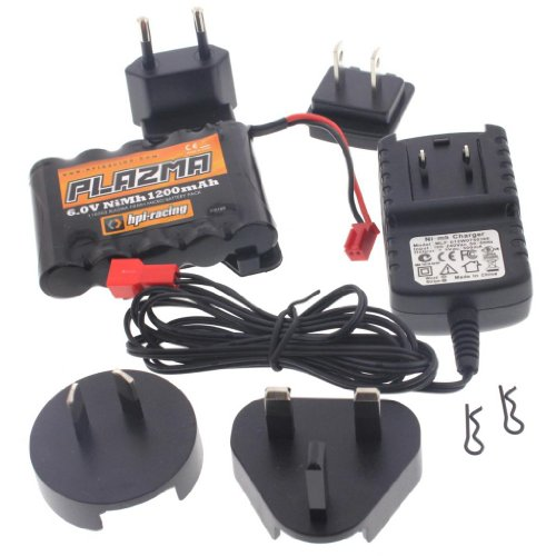 HPI 1/18 Micro RS4 * PLAZMA 6v 1200mAh NiMH BATTERY & MULTI-REGIONAL CHARGER - Micro Racing Hpi
