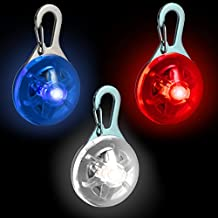 CampTeck Dog Pet Collar Pendant LED Safety Clip-On Night Light with 3 Modes - Red, Blue & White