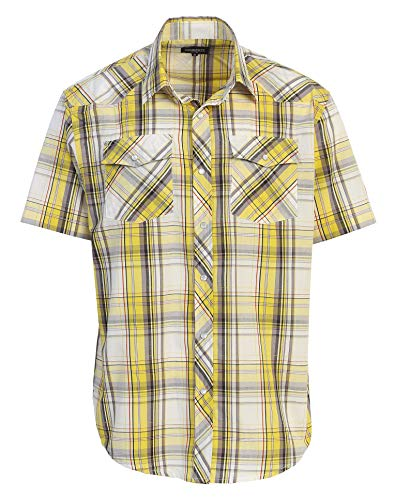 Gioberti Men's Plaid Western Shirt, Yellow/Brown, Large