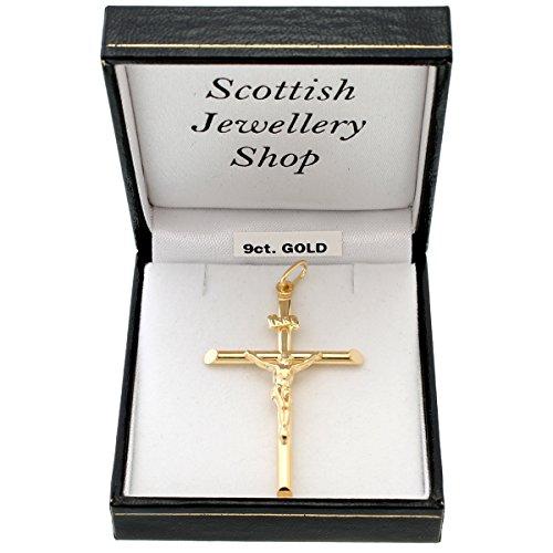 Grand pendentif crucifix en or 9ct avec coffret cadeau