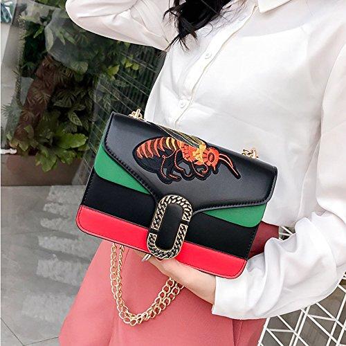 Damentaschen Schultertasche PU-Leder Bee Bestickte Handtaschen Kleine Lock-Kette Tasche,White Black