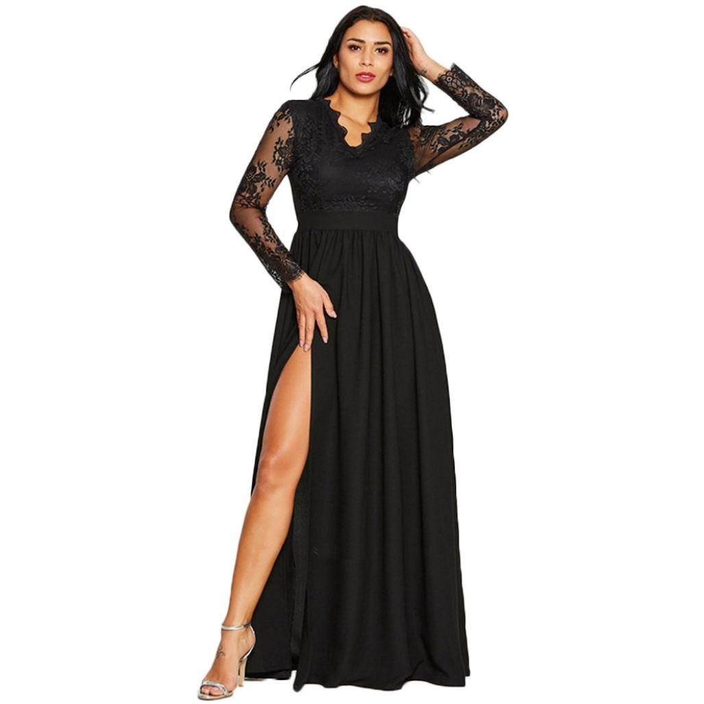 Amaping Women Long Dress Deep V-Neck Lace for Evening Party Ball Wedding (Black XL)