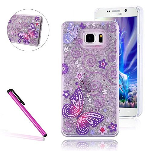 Galaxy S7 Cover Samsung Galaxy S7 Cover for Girls EMAXELER 3D Creative Design Angel Girl Flowing Liquid Floating Bling Shiny Liquid PC Hard Cover for Samsung Galaxy S7 Silver: Purple (Graphic Rhinestone Case)