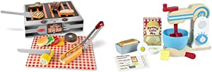 Melissa & Doug Wooden Grill & Serve BBQ Set & Make-A-Cake Mixer Set