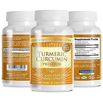 Turmeric Premium – Pure Turmeric 95 Curcumin with Bioperine – Vegan Natural Anti-Inflammatory, Antioxidant, Pain Relief and Antidepressant – 60 Capsules, 1 Month Supply