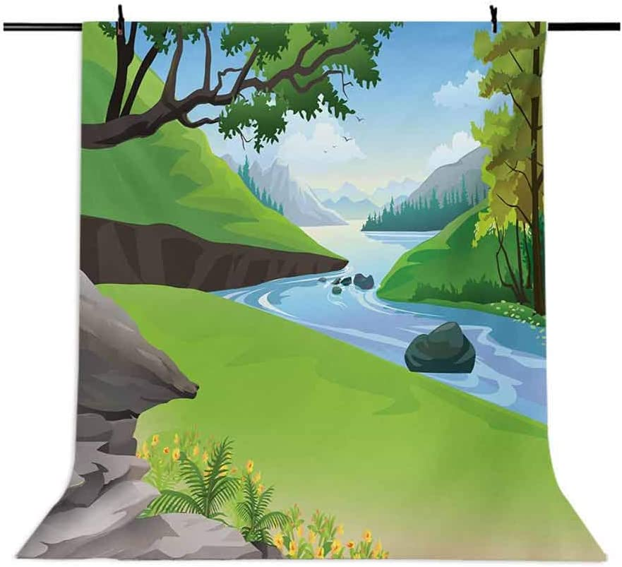 Nature 10x15 FT Backdrop Photographers,Lake View in National Park in The Woodland Forest in Summer Cartoon Background for Photography Kids Adult Photo Booth Video Shoot Vinyl Studio Props