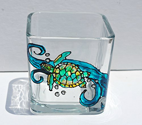 - Sea Turtle Blue Ocean Hand Painted Glass Square Candle Holder
