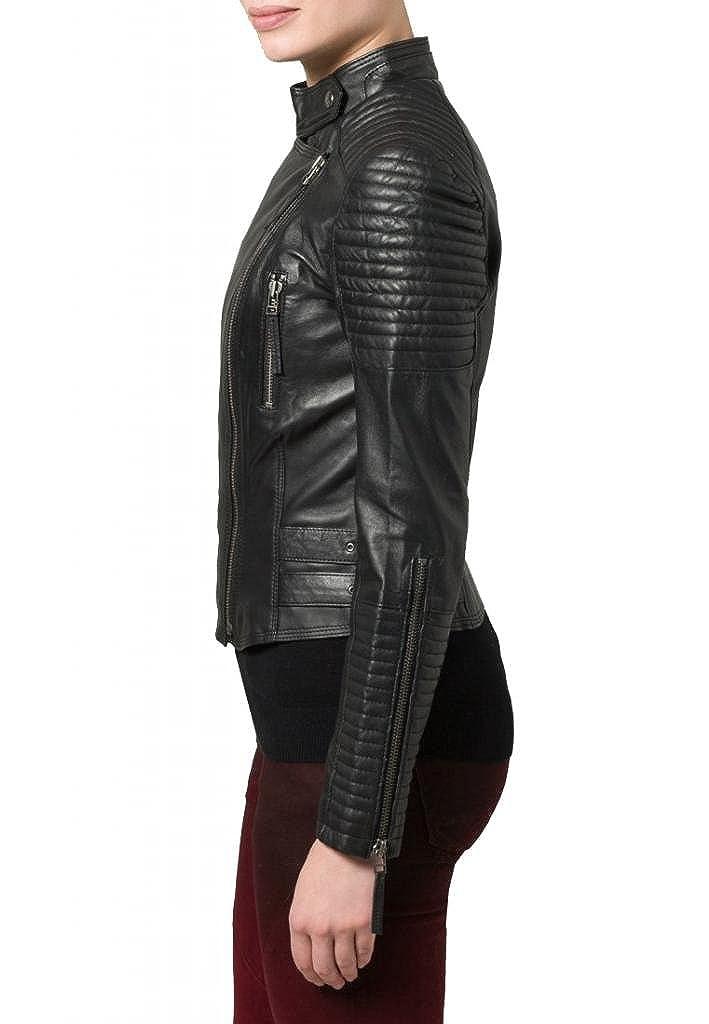 Leather4u - Chaqueta - para mujer Negro negro XXS: Amazon.es: Ropa y accesorios