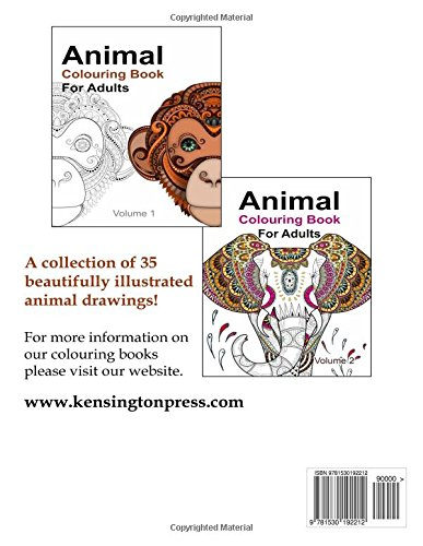Amazon Animal Colouring Book For Adults 9781530192212 Kensington Press Books