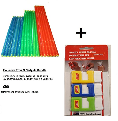Fresh Lock Original Premium Plastic Bag Sealer Sticks (18 pack Popular Large Sizes) and Snappy Seal Bag Clips (3 Pack) Ultimate Bag Seal Bundle. Water tight, Air Tight Seal, Easy Storage, Re-Usable
