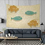 Anniutwo Fish and Wave Large tablecloths Aquarium Marine Ocean Themed Fishing Decor Vintage Stylized Wall Hanging Tapestries W84 x L54 (inch) Orange Sand Brown Seafoam