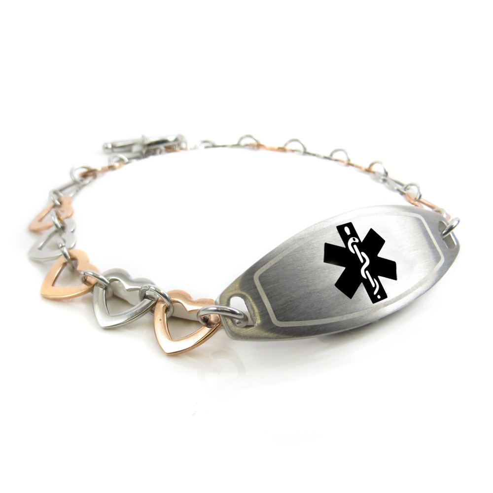 My Identity Doctor - Pre-Engraved & Customized Womens Diabetic Medical Bracelet, Steel - Rose Hearts, Black