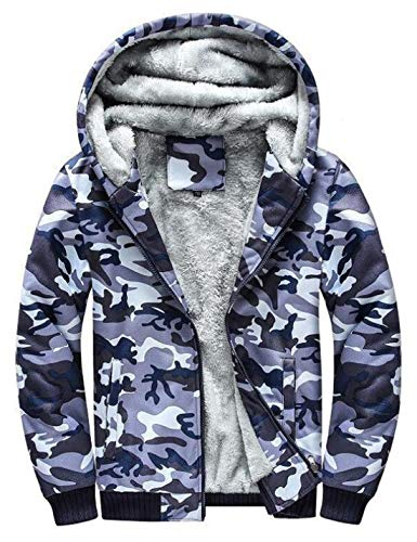 D.B.M Men's Fashion Plus Velvet Thick Windproof Warm Hooded Camouflage Jacket (Large, Light-Blue)