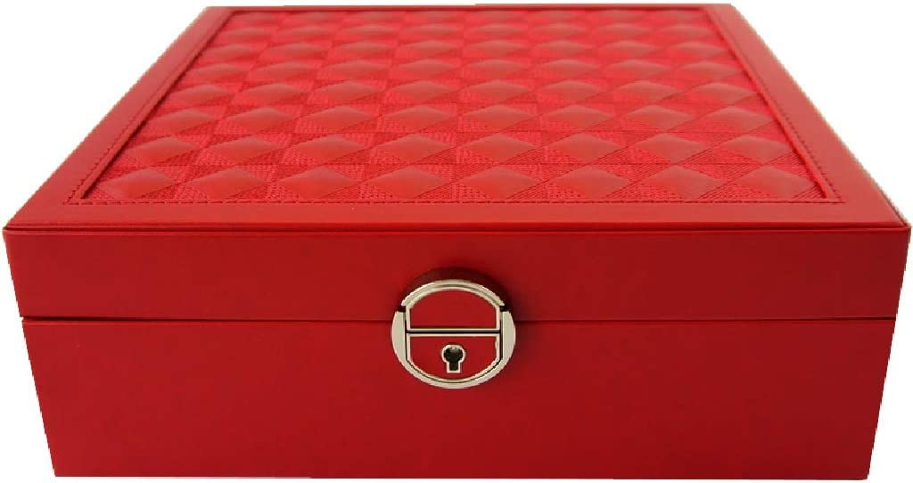 Jewellery Box Female Earrings Jewelry Necklace Watch Large Capacity Storage Organizer Finishing Box Storage Box (Color : Red, Size : 25.38cm) 51OlYEO4VcL