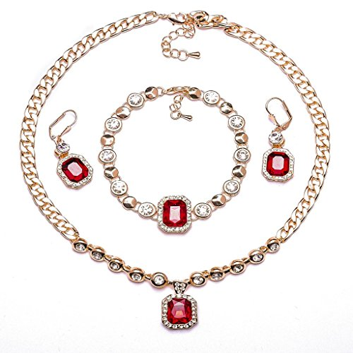 ABAIHSMOON Jewelry Set for Women with Crystal and Rhinestone Diamonds, Durable Fashion Design of Pendant Necklace, Earrings and Bracelet Chain for Bridal, Bridesmaids, Prom