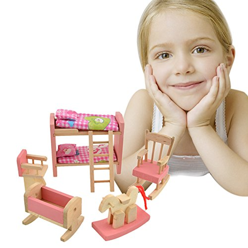 toys, games, dolls, accessories, doll accessories,  furniture 1 on sale Vktech Wooden Dollhouse Funiture Kids Child Room Set deals