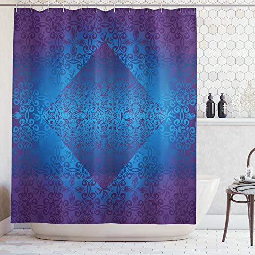 Victorian Shower Curtain by Ambesonne, Ombre Seamless Classic Design with Little Light in the Middle Artwork, Fabric Bathroom Decor Set with Hooks, 70 Inches, Blue Indigo Royal Blue