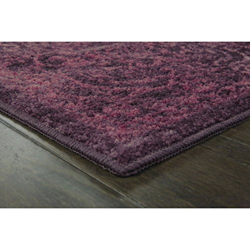Area Rugs, Maples Rugs [Made in USA][Pelham] 7' x 10' Non Slip Padded Large Rug for Living Room, Bedroom, and Dining Room - Wineberry Red by Maples Rugs (Image #2)