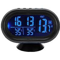 CARDMOE Orologio Digitale da Auto, Orologio da cruscotto Universale per Auto con termometro e retroilluminazione di Controllo della Vettura, modalità Snooze e Allarme Automatico di Vibrazione (Blue)