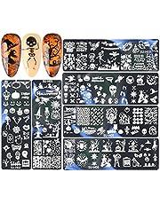 SUPYINI Nail Stamper Kit,6 Stks Halloween Nail Stamp Platen Set Roestvrij Staal Spider Webs Pompoenen Vleermuizen Hoofd Bone Afbeelding Stamp Halloween Nail Decoratie