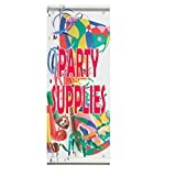 Party Supplies Business Double Sided Vertical Pole Banner Sign 24 in x 36 in w/ Pole Bracket