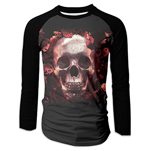 Menâ€s Skull & Roses Live Screenshot Raglan Baseball T-Shirts 3/4 Sleeve Baseball Tees L (Shot Soccer T-shirt)