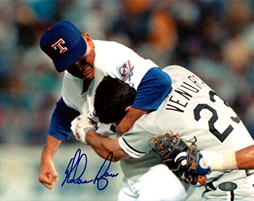 Nolan Ryan Autographed 8x10 Photo Texas Rangers Ventura Fight NR Holo - Autographed Rangers 8x10 Photo