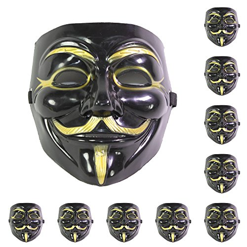 Anonymous Mask Sale (Set of 10 Black V for Vendetta Guy Fawkes Anonymous Costume Cosplay)