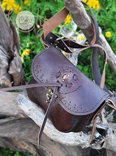 Handmade Dark Brown Leather Brown Seashell Accented Shoulder Bag