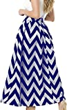NINEWE Women's Retro Pleated Floral Long Print Skirt with Pocket Bluewave 6