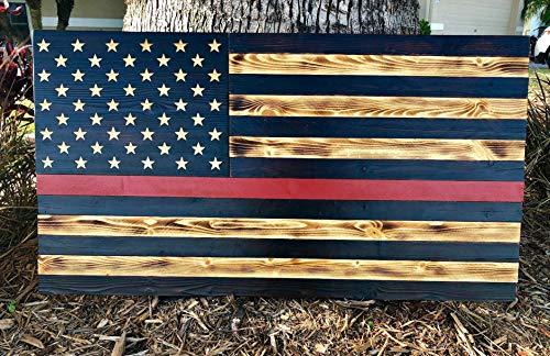 (Thin Red Line Wood American Flag | Firefighters | USA | Wall Art | 100% Handmade | 36
