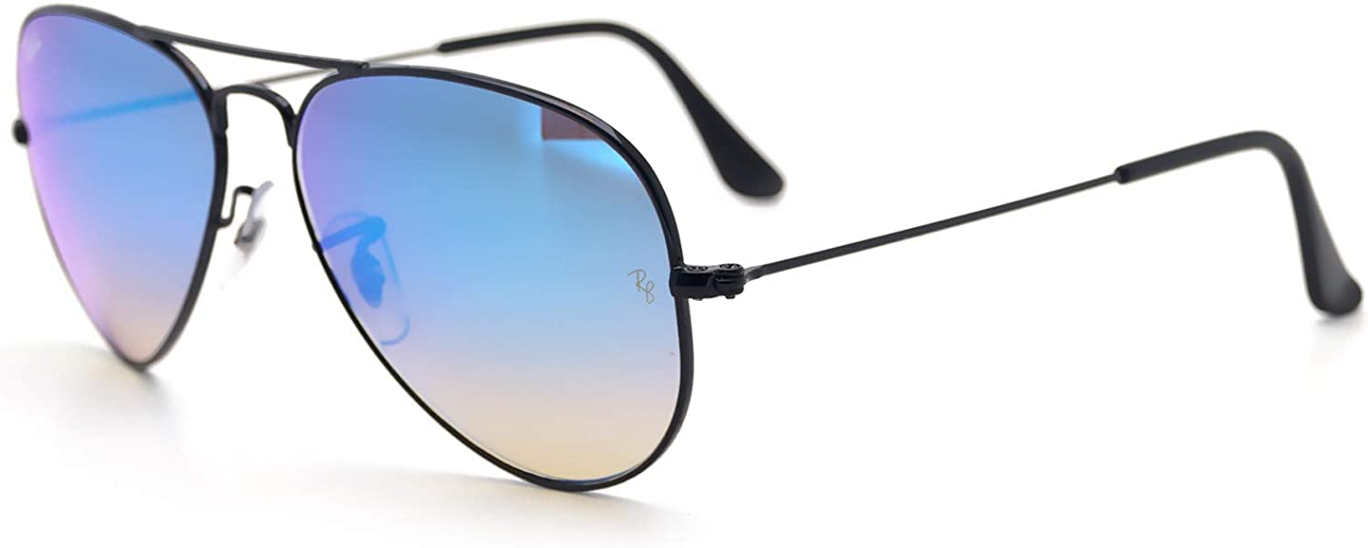 ray ban aviator black frame mirror lens