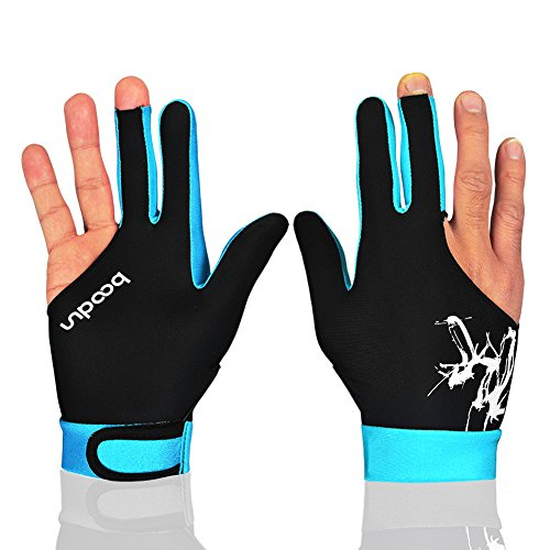 Anser M050912 Man Woman Elastic Lycra 3 Fingers Show Gloves for Billiard Shooters Carom Pool Snooker Cue Sport - Wear on the Right or Left Hand 1PCS (Sky Blue, L) - Mens Show Gloves