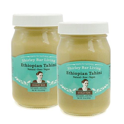 Shirley Bar Living Ethiopian Tahini, Kosher tahini dressing, Vegan, Raw, hulled, non-Gmo - The Best Tasting Tahini sesame paste, amazing sauce! Pure Ground 100% Ethiopian Sesame seeds, 1 LB (2 ()